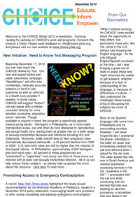 CHOICE Newsletter - December 2012